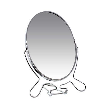 Cosmetic mirror isolated on a white background on a metal stand. For women and girls.
