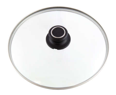 Glass cover pan isolated on white background. The lid is round and it is a top view. It belongs to pots and pans. It's kitchen utensils.