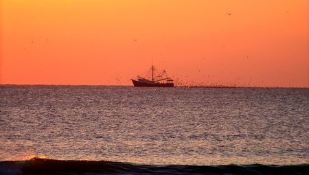 shrimp boat: Shrimp Boat At Sunrise