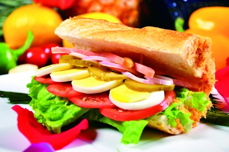 meaty: Baguettes meaty sandwiches Stock Photo