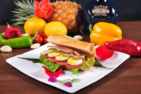 고기의: Baguettes meaty sandwiches 스톡 사진