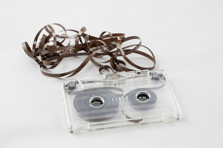 Cassette tape player, 70s, isolated on white background