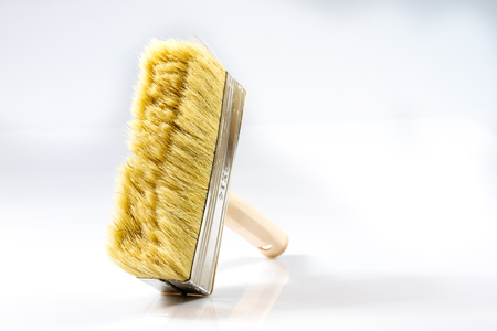 Large paint brush for painting walls, white background, isolated Zdjęcie Seryjne