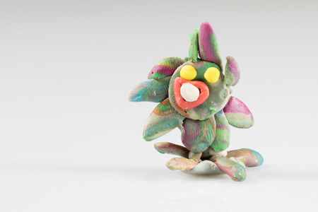 kobold: Plasticine figures, childrens play, fairy-tale characters, white background