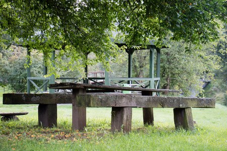 summerhouse: Leisure gazebo in the forest and garden. Season of autumn. September Month.