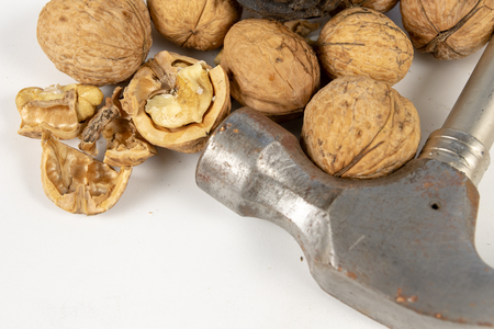 Hammer and italian edible nuts on a white kitchen table. Delicacies prepared for homemade pastries and cakes. White background. Stockfoto