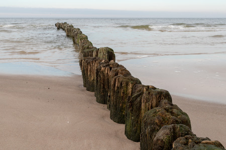 Old breakwater bollards on the sea beach. Coast in central europe. Season of the autumn. Standard-Bild - 112527468