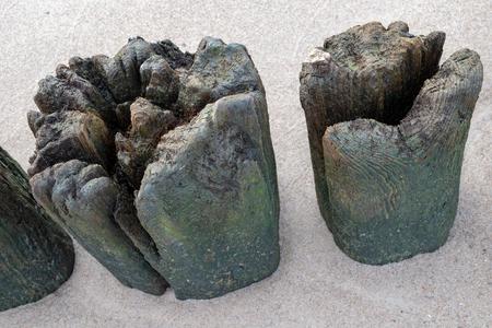 Old breakwater bollards on the sea beach. Coast in central europe. Season of the autumn. Standard-Bild - 112527602