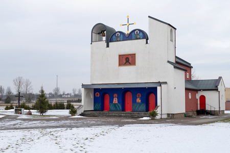 Bialy Bor, zachodniopomorskie / Poland - February, 06, 2019: City Bialy Bor, Greek Catholic Orthodox church. Birth of the Virgin. Season winter. Editorial