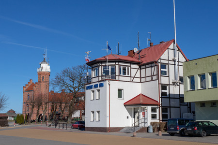 Ustka, pomorskie  Poland - February, 22, 2019: Buildings of the masters office in Ustka. Harbor buildings in a seaside resort. Season winter. Publikacyjne