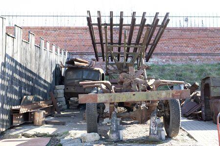 Torun, kujawskopomorskie / Poland - March, 20, 2019: An old dilapidated car for transporting Katyusha rockets. Museum in Torun fort IV Season spring.