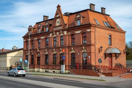 Czluchow, pomorskie  Poland - March, 31, 2019: Main Post Office in a small town. Historic building of the Post Office. Season of the spring.