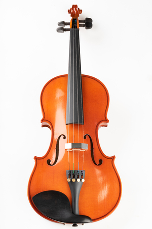 Violin and bow on a light background. A new stringed musical instrument. White background