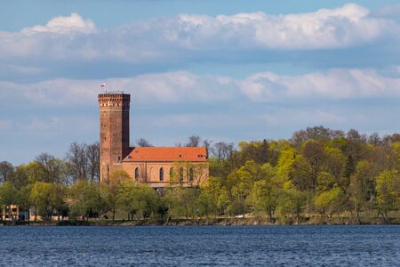 Czluchow, Pomeranian / Poland - April, 22, 2019: Teutonic castle in Central Europe. An old stronghold built of red brick. Season of the spring. Editorial