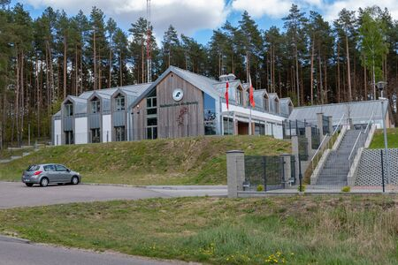 Przechlewo, pomorskie / Poland - May, 5, 2019: The seat of local forest authorities in Poland. A new forest building in a modern style. Season of the spring.