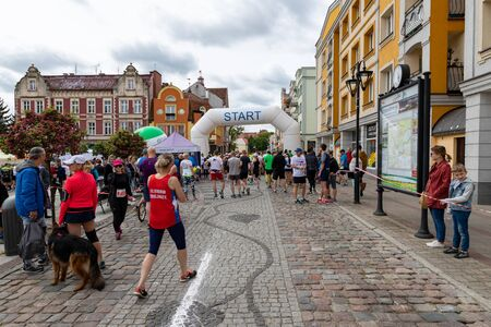 Czluchow, pomorskie / Poland - May, 25, 2019: Tura Run - street competition in a small town. Athletics competition named after Henryk Pliszka. Season of the spring. Redactioneel