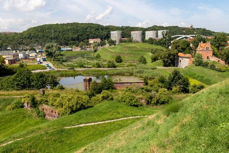 Gdansk, Pomeranian / Poland - July 19, 2019: Old buildings of the Zubr Bastion in Gdansk. Fortification erected by Prussia in Central Europe. Season of the summer.