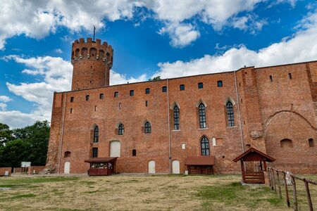 Swiecie, kujawsko pomorskie / Poland - 25 July 2019: Teutonic Castle located at the mouth of the river Wda to the Vistula. An old stronghold from the Middle Ages in Central Europe. Season of the summer.