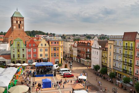 Chojnice, Pomorskie / Poland – August, 8, 2019: The old town is a small town in Central Europe. Center of a small town in Pomerania, Poland. Season of the spring. 에디토리얼