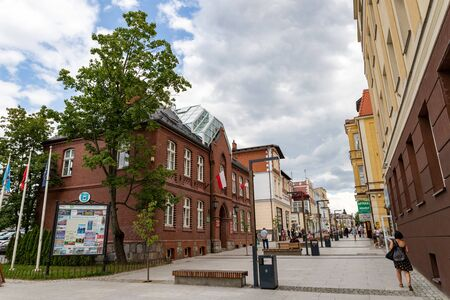 Kartuzy, pomorskie  Poland - August, 13, 2019: Administrative buildings in a small city. The seat of administrative authorities. Summer season. Sajtókép