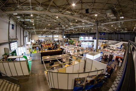 Poznan, wielkopolskie / Poland-September, 12, 2019: Exhibition stands at the Drema fair. Poznan International Fair. Summer season.