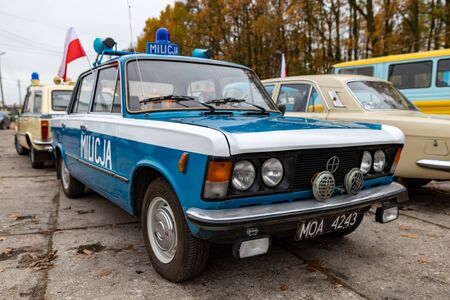 Sepolno krajnskie, kujawsko pomorskie  Poland - November, 11, 2019: Polish historic Fiat police car. A restored car parked in the parking lot. Autumn season.
