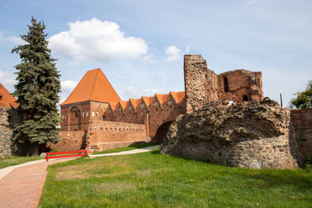 Torun, kujawsko pomorskie / Poland - April, 30, 2020:. Teutonic castle in Poland. Old tenement houses in the city center in Central Europe. Spring season.