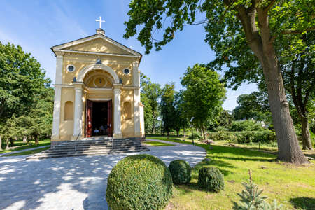 Potulice, kujawsko pomorskie / Poland - August, 05, 2020: Roman Catholic Church of Annunciation of the Blessed Virgin Mary. A mortuary chapel in a small town.