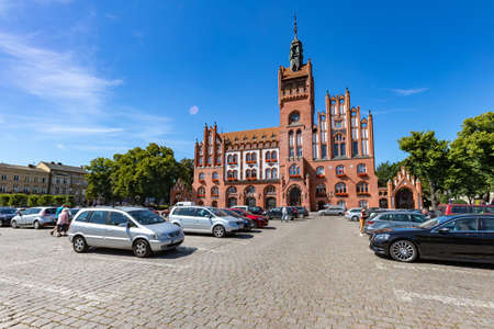 Slupsk, pomorskie / Poland - August, 06, 2020: Old building of the city hall. The seat of municipal authorities in the city center. Spring season. Editorial