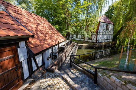 Slupsk, pomorskie / Poland - August, 06, 2020: Old mill buildings in Europe. Renovated old buildings converted into a museum. Summer season.