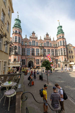 Gdansk, pomorskie / Poland - August, 8, 2020: The seat of the Academy of Fine Arts in Gdansk. Historic tenement houses in the city of Central Europe. Summer season. Editorial