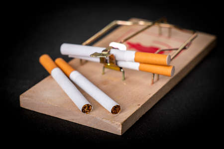 Cigarettes placed in a mousetrap. A trap in the form of a nicotine addiction. Dark background. Standard-Bild