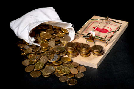 Mouse trap and coins. A trap in the form of money. Dark background.