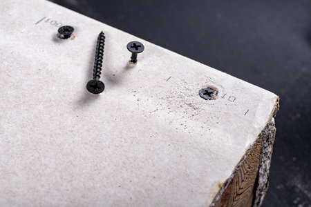 Black screws for fixing plasterboards. Building a wall of drywall. Workplace - construction site. Standard-Bild