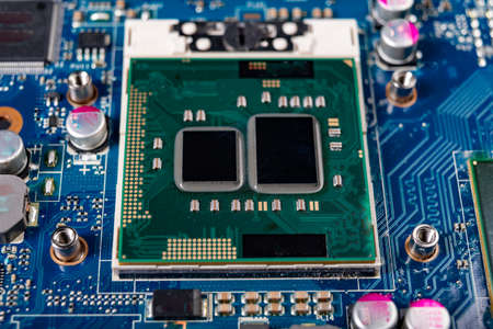 A computer processor located on the motherboard. Accessories and spare parts for personal computers. light background. Banque d'images