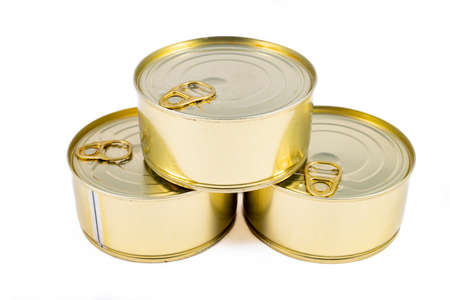 Metal cans of preserved food. Food with a long shelf life. Light background. 스톡 콘텐츠