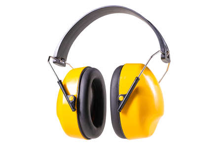 Hearing protection for mechanics and construction workers. Personal protective accessories used in factories. Isolated background.