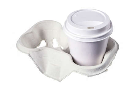 Paper cups for hot take-away coffee. Containers for hot drinks used in fast food restaurants, Isolated background.