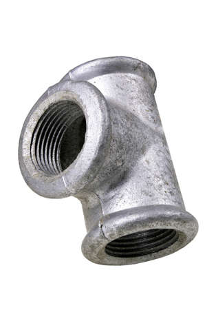 Metal hydraulic tee for connecting pipes. Accessories used to repair plumbing. Isolated background.