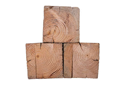 The front of three wooden blocks. Pieces of wood shown in cross section. Isolated background.