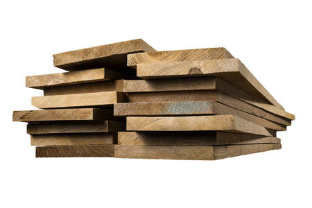A pile of dark-tinted ash planks. Stacked planed boards. Isolated background.