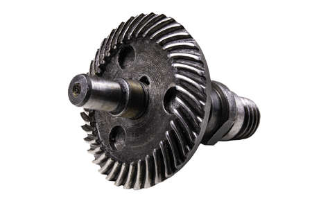 Ball bearing and metal axle. Spare parts for production machines. Isolated background.