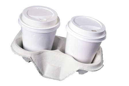 Paper cups for hot take-away coffee. Containers for hot drinks used in fast food restaurants. Isolated background.