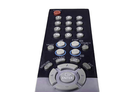 Old TV remote control. Accessories for controlling electronic devices. Isolated background.