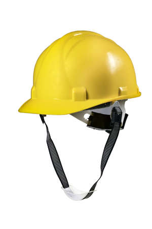 Yellow hard hat for construction workers. Protective clothing and accessories for employees. Isolated background.
