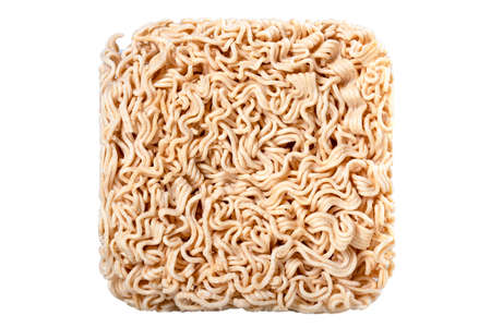 Structure of an instant noodle soup. Dry pasta used in instant dishes. Isolated background. Standard-Bild