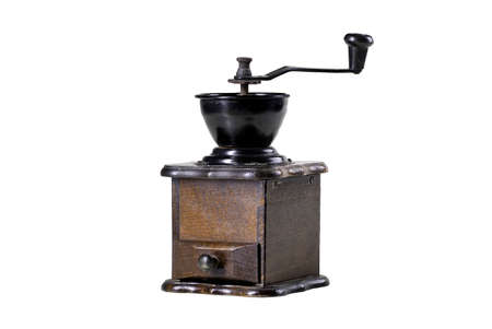 Coffee and pepper grinder. Kitchen accessories used in the household. Isolated background. Standard-Bild