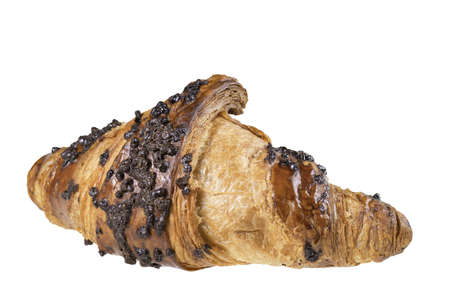 Tasty croissant with chocolate sprinkles. Castko with chocolate filling. Isolated background.
