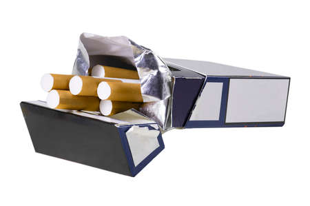 Paper packet with cigarettes. A container of tobacco cigarettes with a filter. Isolated background.