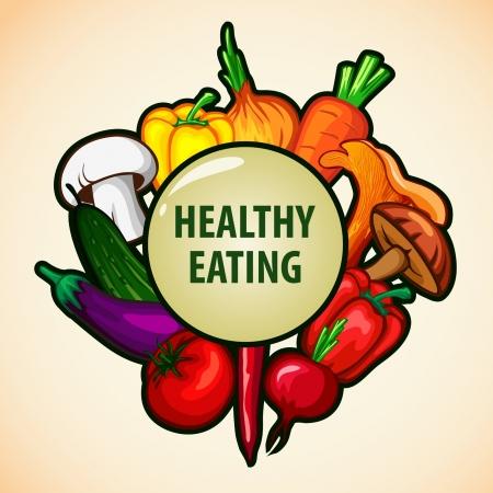healthy food menu background Vegetable illustration